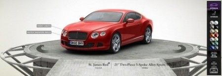 Онлайн конфигуратор для Bentley Continental GT